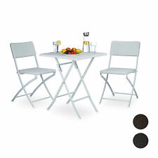 BASTIAN Garden Patio Furniture Set of 3 with 2 Folding Chairs and Folding Table