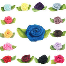 10/50/100pcs Satin Ribbon Mini Rose Flower Appliques/Craft/Wedding Decoration