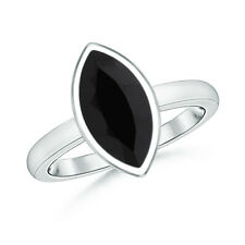 Bezel Set Marquise Natural Black Onyx Solitaire Ring 14k White Gold Size 3-13