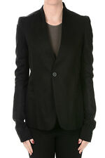 RICK OWENS New Woman Black PLINTH Blazer in Cotton Made in Italy NWT