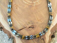 Double Magnetic Hematite Mens Womans Necklace 2Row Therapeutic w Brown Tiger Eye