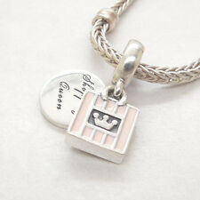 Authentic Genuine S925 Sterling Silver Shopping Queen Soft Pink Enamel Charm