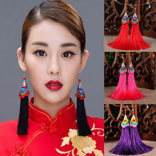 Women Bohemian Hook Long Tassel Fringe Ethnic Embroidery Dangle Earrings Fashion