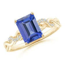 Solitaire Emerald Cut Tanzanite and Diamond Engagement Ring 14k Yellow Gold