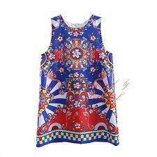 Girl Floral Print Dress Children Kids Sleeveless Pageant Summer Holiday Dresses