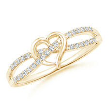 Round Diamond Heart Promise Ring 14K Yellow Gold/ Silver Size 3-13
