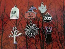 Halloween Oct 31 spider web teeth witch hat RIP skull ghost skeleton charm sets