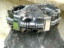TRIPLE Row Silver n Black 100%Magnetic Hematite Necklace Bracelet Anklet Therapy