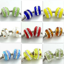 5pcs silver Lampwork Murano Glass Rhinestone Loose European Charm Beads 10x15mm