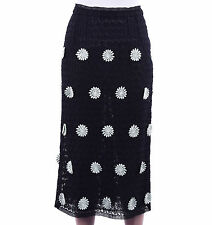 DOLCE & GABBANA RUNWAY Floral Embroidery Cotton Pencil Skirt Black 03755