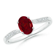 Solitaire Oval Garnet Bypass Ring with Diamond Accent 14k White Gold Size 3-13