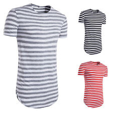 Men T-shirt Man Casual T-shirt Striped T-Shirt 1Pcs O-Neck Short-Sleeved Summer