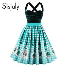 Women Vintage Cocktail Party Dress Strapless Patchwork Sexy Knee Length Green
