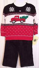 NWT Good Lad Boy's 3 Pc Christmas Holiday Sweater & Cords Set, 3T, $44