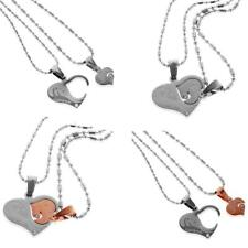 2pcs 'I Love You' Soulmate Matching Heart Pendant Necklace Lovers Couple Jewelry