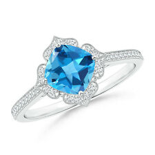 Blue Topaz Diamond Lily Flower Ring with Milgrain White Gold/ Silver Size 3-13