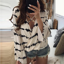Ladies Long Sleeve Loose Blouse Fashion Womens Summer V Neck Casual T-Shirt Tops