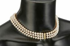 "18"" 3 Row Freshwater Genuine Natural White Pearl Necklace Gold Plated Gift Set"