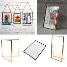 Modern Style Glass Hanging/Free Stand Picture Photo Frame Portrait Brass Black
