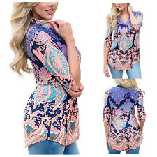 Fashion Women's Long Sleeve Floral Print Loose Blouse V-Neck Casual Shirt Tops