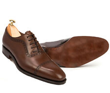 Men Handmade Coffee Brown Two Tone Cap Toe, Formal Dress Leather Shoes Office