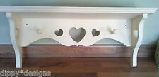 Craftsman hand made shabby chic MDF shelf 3 + 2 hearts and 2 shaker pegs