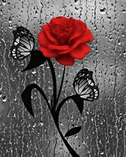 Red Rose Flower Butterflies Bathroom Home Decor Wall Art Matted Picture