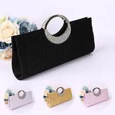 Women Rhinestone Satin Pleated Evening Bag Party Clutch Purse Handbags Virtuous