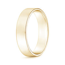 Classic High Polished Flat Mens Wedding Band in Yellow Gold Ring Size 4-14
