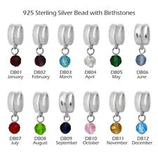 925 Sterling Silver Bead with Glass Birthstones for European Charm Bracelets