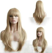 Women Lady Straight Wigs Light Blonde With Bangs Sexy Long Full Cosplay Hair Wig