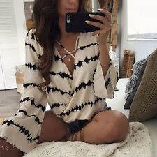 Blouse Women  Loose Long Sleeve Casual Stripe Printed Tops  Bandage Blouse