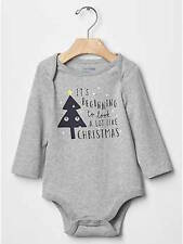 NWT BABY GAP BOY'S GRAY GRAPHIC FESTIVE BODYSUIT 100% COTTON