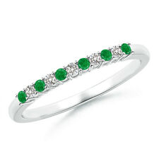 Emerald and Diamond Half Eternity Wedding Band for Women In 14K White Gold