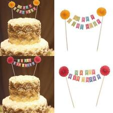 Happy Birthday Paper Flower Cake Bunting Banner Cake Topper Flag Photo Prop