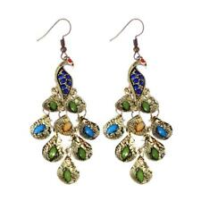 Women Vintage Blue Rhinestone the Prancing Peacock Dangle Hook Earrings