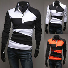 New Luxury Men's Button Front Slim Fit Casual Long Sleeve Polo Shirt T-Shirt d9