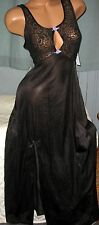 Black Stretch Lace Bodice Long Nightgown S M Sexy Slit Keyhole Nylon Gowns