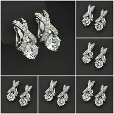 Cubic Zirconia Stud Earrings 2ct CZ Stone White/Rose Gold plated BRIDE WEDDING