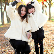 Fur Mother Daughter Coats Warm Family Matching Outfits Look Clothes Cotton