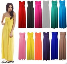 Womens Ladies Knot Front Strapless Bandeau Boobtube Plus Size Maxi Dress UK 8-26
