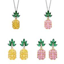 Elegant Cubic 5A Zircon Pineapple Fruit Pendant Necklace Earring Jewelry Set