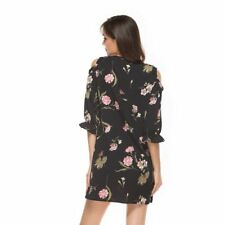 Women New Fashion O Neck Half Sleeve Floral Printed Mini Dress