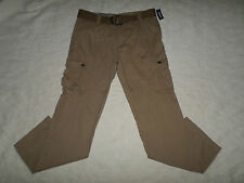 OLD NAVY BELT CARGO PANTS MENS SIZE 33X30 LIGHT BROWN ZIP FLY NEW WITH TAGS