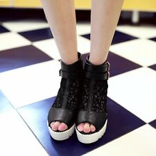 Womens ZipLeather Hollow High Heels Wedges & Platforms Sandals Shoes New!!!