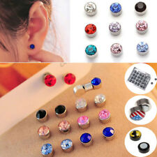 12 Pairs Non Piercing Crystal Clip on Magnetic Ear Stud Men Women Fake Earrings