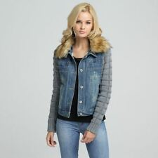 Winter Turn-down Collar Solid Color Cotton Material Denim Jacket For Women