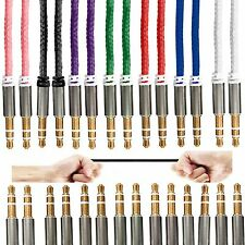 3.5mm Jack To Jack AUX Stereo Plug Braided Male Audio Auxiliary Cable Lead Lot