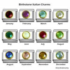 Italian Charms Birthstone Gold Frame 9mm Stainless Steel Bracelet Charm Link GLD