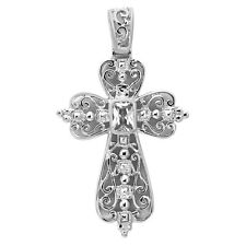 925 Sterling Silver Filigree Open Cross with Crystal  Pendant Charm Necklace